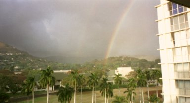 Here's a double rainbow - look close! We're looking mauka and northeast, where most of the trade showers come from.