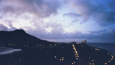 This is a view of Diamond Head at night. It is a picture taken from the hotel we stayed at for a month.