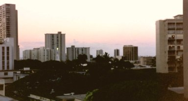 Now we're looking southwest toward Ala Moana, in the evening.  Pretty sky!